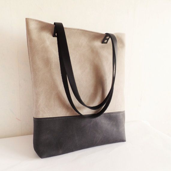 Large vegan leather tote